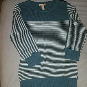 *Blue/Teal & White Color Block & Striped Sweater*